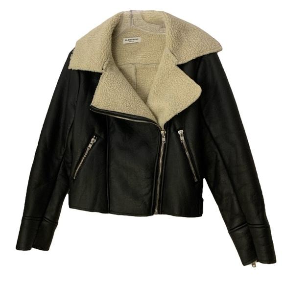 Jackets & Blazers - Black Aviator Shearling Lined Leather Jacket